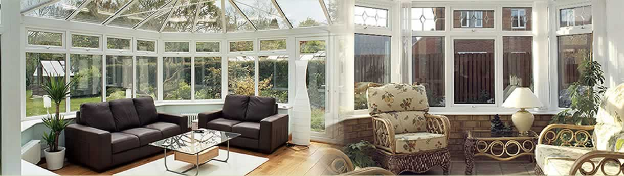 Internal shot of a uPVC conservatory in white