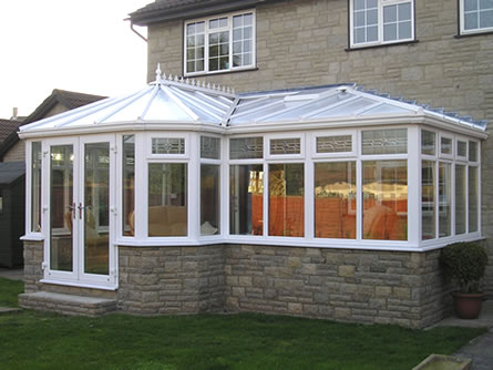 A uPVC conservatory installation in white