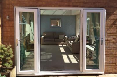 Double French doors leading onto a patio in Backwell